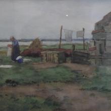 bernard van beek - vrouw aan de bleek in de polder