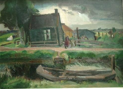 Houten huisje aan het Moleneind van Harrie Kuyten (1883-1952)