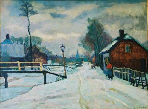 Wintergezicht van Anton Smeerdijk (1885-1965)