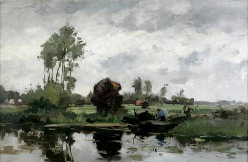 Een Kortenhoefs polderlandschap van A.W. van Voorden (1881-1921)