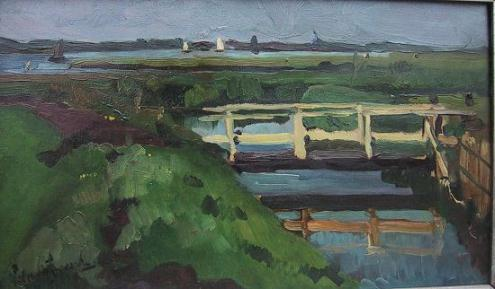Stoer polderlandschap van Piet van Wijngaerdt (1873-1964)